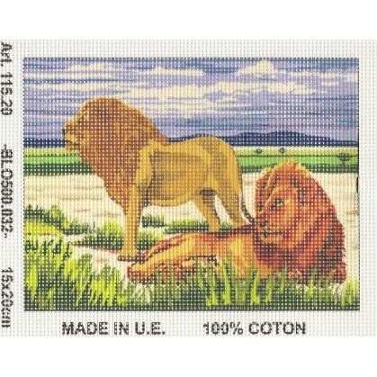 Kit canevas lions 15x20 cm