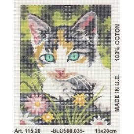 Kit canevas tête de chat 15x20 cm