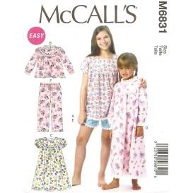 patron enfant chemises de nuit, short McCall's M6831
