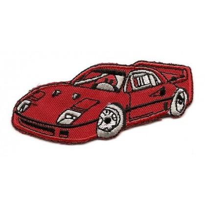 écusson voiture de sport rouge thermocollant