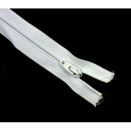 fermetures à glissières polyester blanc