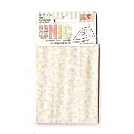 pièce thermocollante blanc fleurs beiges 21 x 29,7cm