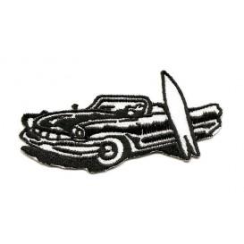écusson voiture surf noir et blanc thermocollant