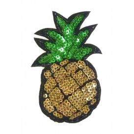 emblème paillettes ananas 5cm x 8,5cm thermocollant