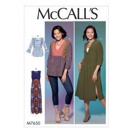 patron haut, tunique, robes McCall's M7650