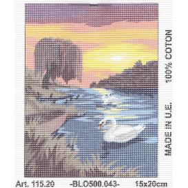 Kit canevas cygnes coucher soleil 15x20 cm