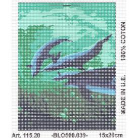 Kit canevas 4 dauphins 15x20 cm