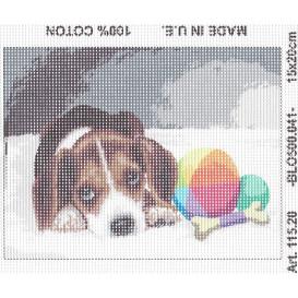 Kit canevas chiot couché 15x20 cm