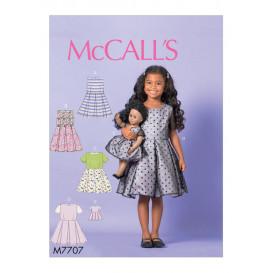 patron enfant robe et pour poupée 46cm McCall's M7707