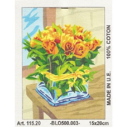 Kit canevas fleurs 15x20 cm