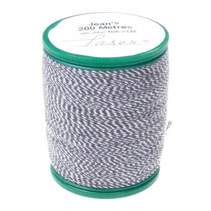 fil à coudre coton jeans bleu/blanc 200m