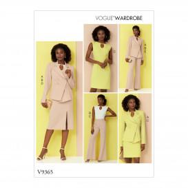 patron veste, haut, robe, jupe Vogue V9365