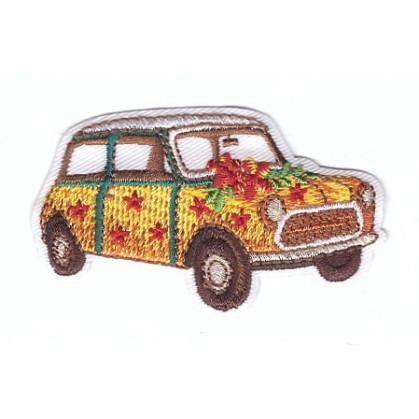 écusson voiture mini jaune thermocollant