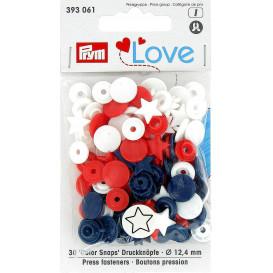 30 boutons pression prym love mix étoile 12,4mm