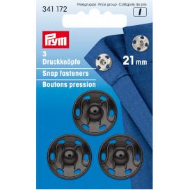3 boutons pression métal à coudre 21mm