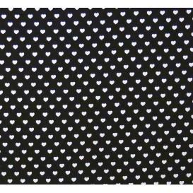 coupon coton noir coeurs 5mm
