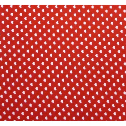 coupon coton rouge coeurs 5mm