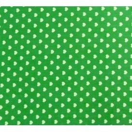 coupon coton vert coeurs 5mm