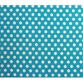 coupon coton turquoise pois 9mm