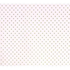 coupon coton blanc pois beige 2mm