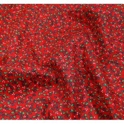 tissu noël rouge petits houx largeur 150cm x 50cm