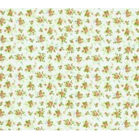 tissu coton vert eau fleurs ocre largeur 150cm x 50cm