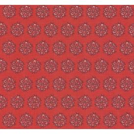 tissu coton rouge fleurs grises largeur 140cm x 50cm