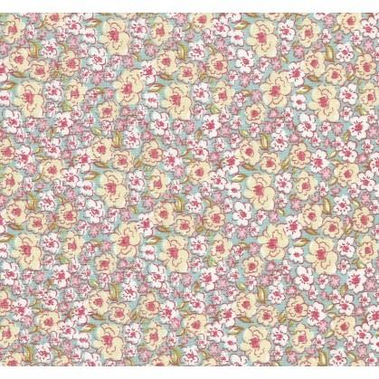 tissu coton kalmia turquoise fleurs largeur 160cm x 50cm