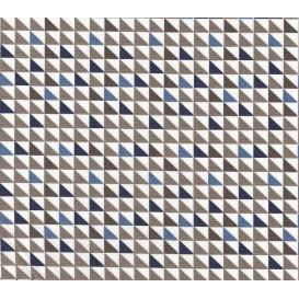 tissu popeline triangle bleu gris largeur 145cm x 50cm