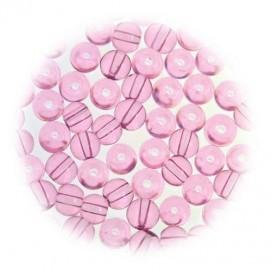 perles de verre translucide rose 4mm