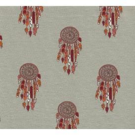 tissu jersey gris attrape rêve largeur 145cm x 50cm