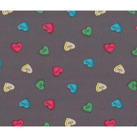 tissu jersey gris coeurs love you largeur 145cm x 50cm
