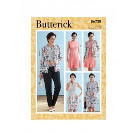 patron veste, robe, haut, jupe Butterick B6738