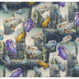 tissu popeline impression digitale voitures largeur 145cm x 50cm