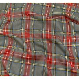 tissu écossais gris/rouge largeur 140cm x 50cm
