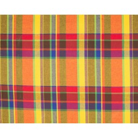 tissu coton madras jaune orange largeur 140cm x 50cm