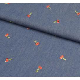 tissu jean fluide bleu clair brodé cerises largeur 155cm x 50cm
