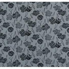 tissu viscose bleu gris fleur noir largeur 140cm x 50cm