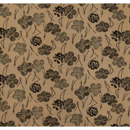 tissu viscose brun fleur noir largeur 140cm x 50cm