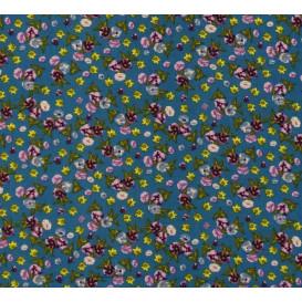 tissu viscose bleu fleur violette largeur 140cm x 50cm