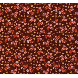 tissu viscose bordeaux fleur rouge largeur 140cm x 50cm