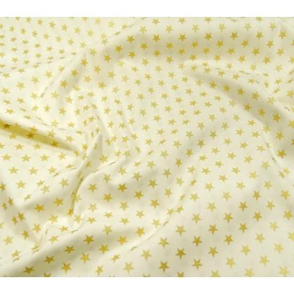 tissu noël écru étoiles doré 9mm largeur 150cm x 50cm