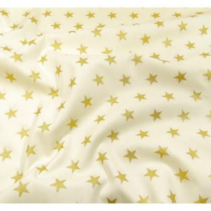 tissu noël écru étoiles doré 18mm largeur 150cm x 50cm