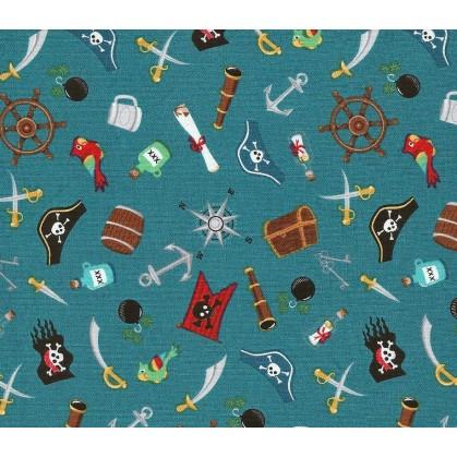 tissu patchwork makower pirate bleu largeur 110cm x 25cm