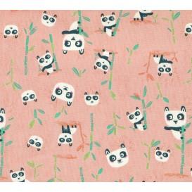 tissu patchwork makower panda rose largeur 110cm x 25cm