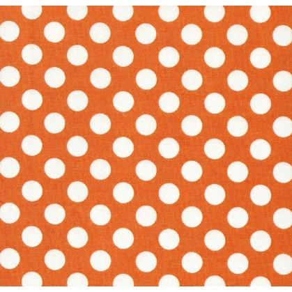 tissu patchwork makower pois orange largeur 110cm x 25cm