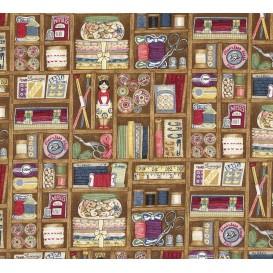 tissu patchwork makower couture marron largeur 110cm x 25cm