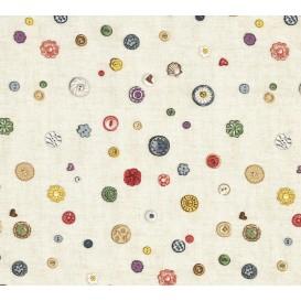tissu patchwork makower bouton beige largeur 110cm x 25cm
