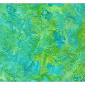 tissu patchwork makower batik vert feuilles largeur 110cm x 25cm