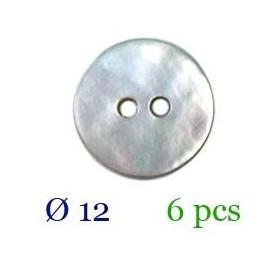 tube 6 boutons nacre 2 trous 12mm